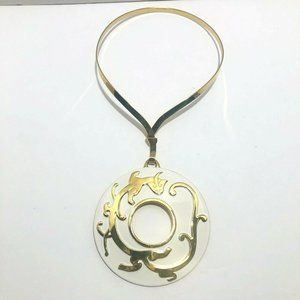 Crown TRIFARI Gold Plated White Enamel Necklace
